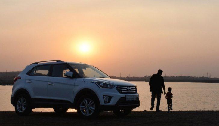 car sunset child