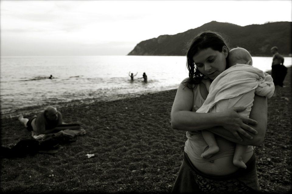 mother beach baby