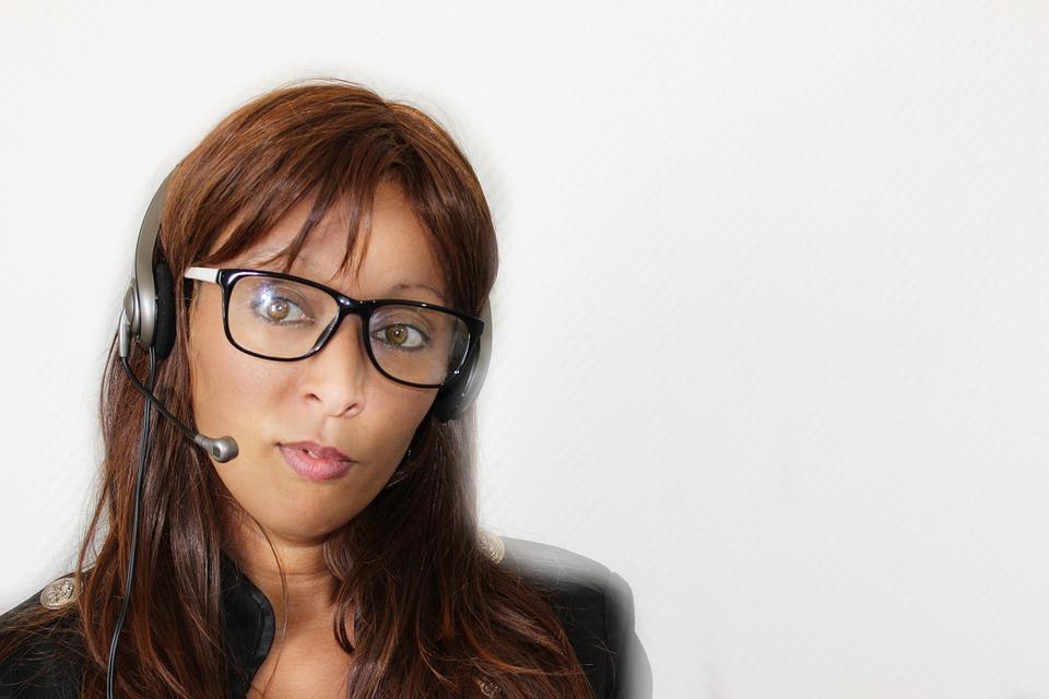 woman talking headset