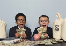 kids holding money
