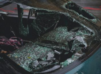 car accident smashed windshield