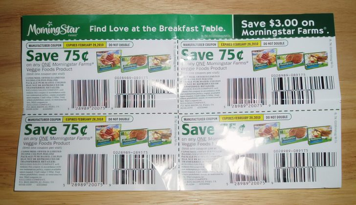 coupons on a table