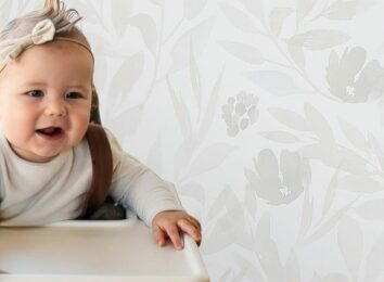 baby wallpaper in a kitchen