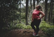 woman jogging in forest